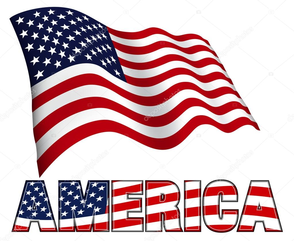 American Flag with AMERICA