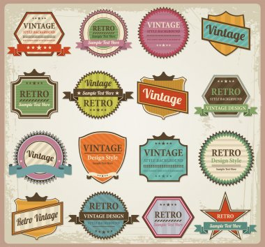 Vintage labels and ribbon retro style set design element