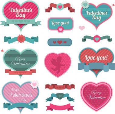 Valentine heart shaped decoration and ribbons EPS 10 clip art vector