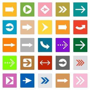 Arrow sign icon set square shape internet button
