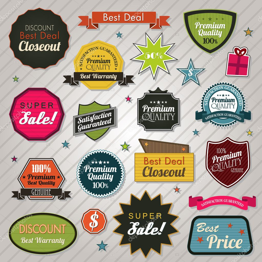 Sales price tags stickers and ribbons eps 10 clipart vector