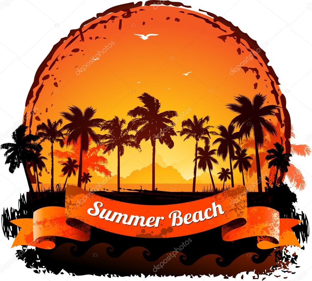 Summer holidays tropical sunset background