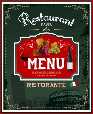 Vintage italian restaurant menu and poster design