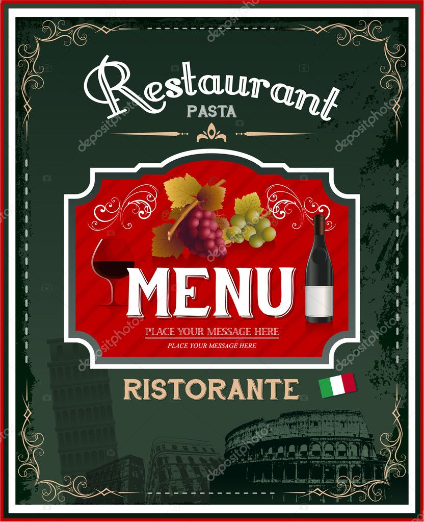 Poster design eps - Vintage Italian Restaurant Menu And Poster Design Eps 10 Vector By Hugolacasse