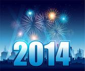 Fotografie Frohes neues Jahr 2014 mit Feuerwerk und Stadt