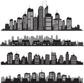 Fotografie Set of vector cities silhouette and buildings