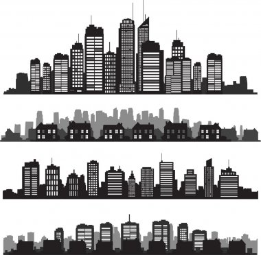 Set of vector cities silhouette and buildings stock vector