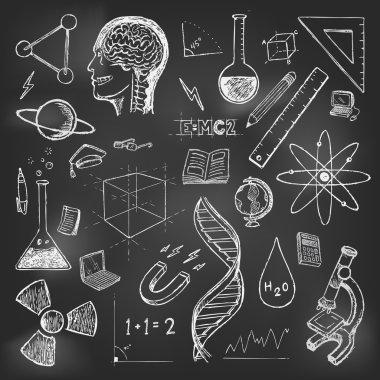 Sciences doodles icons vector set school return