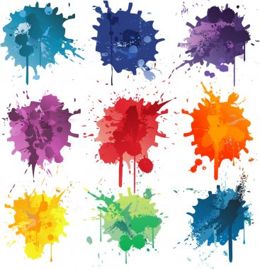 Color abstract vector background set ink paint splats clip art vector