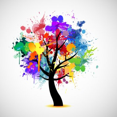 Multi colored paint splat abstract tree illustration stock vector