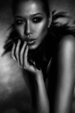 Fashion Woman Portrait. Vogue Style Model. Stylish Makeup and Ma