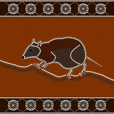 A illustration based on aboriginal style of dot painting depicting musky rat kangaroo