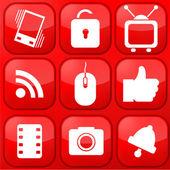 vektorové červené technologie app sada ikon. eps10