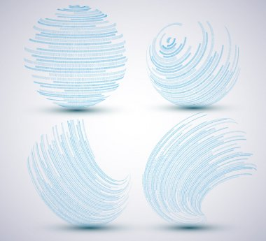 Vector binary sphere set on blue background. Eps10 illustration