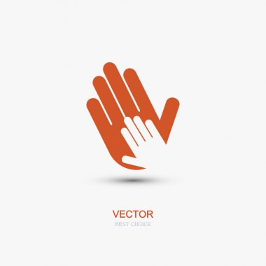 Vector modern hands icon on white background.