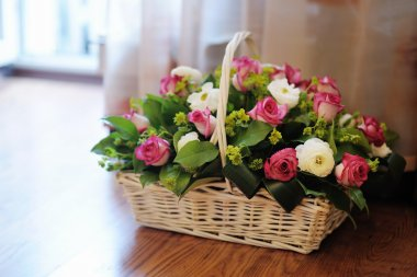 Bouquet of flowers in basket