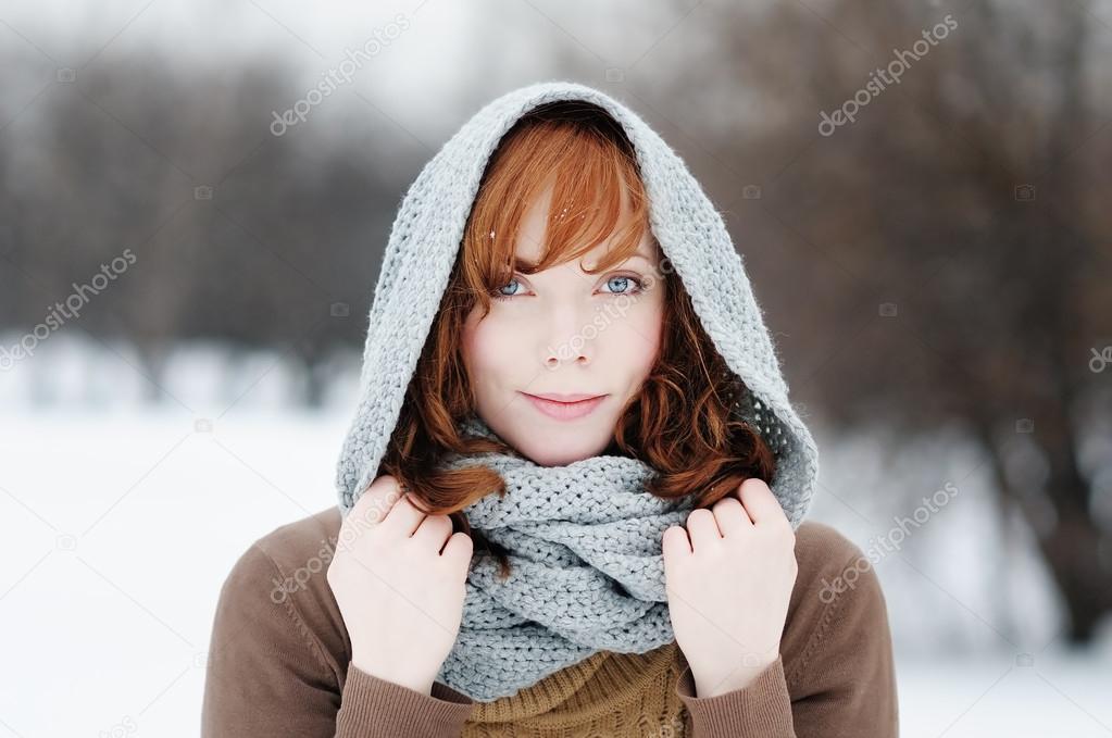 Portrait of beautiful woman in winter