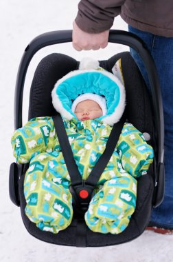 Newborn baby in the car seat