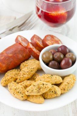 Chorizo on white plate