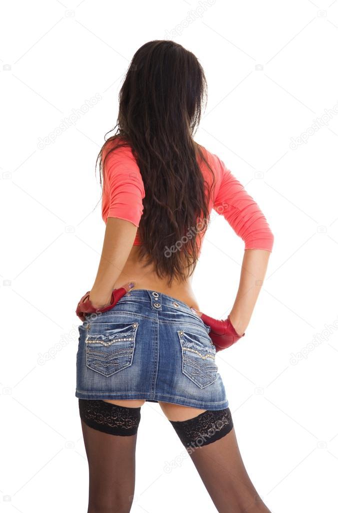 Вид сзади юбках в фото девушек