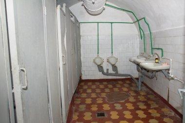 public toilets in military soviet bunker. Korosten. Ukraine.