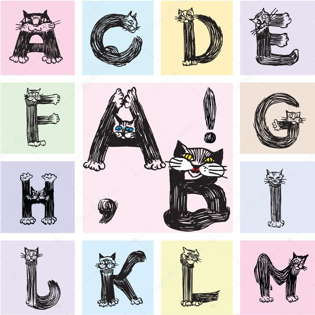 The Roman alphabet letters depicting cats part 1 — Stock Vector