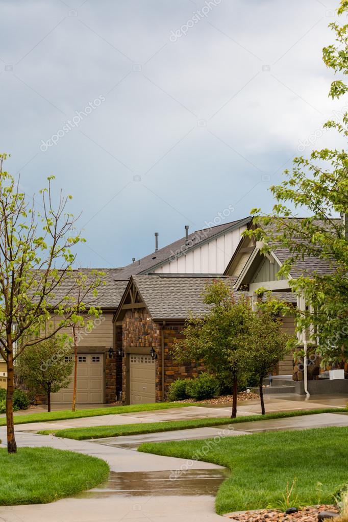 suburban community with model homes stock photo