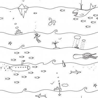 Underwater Seamless Lines Pattern
