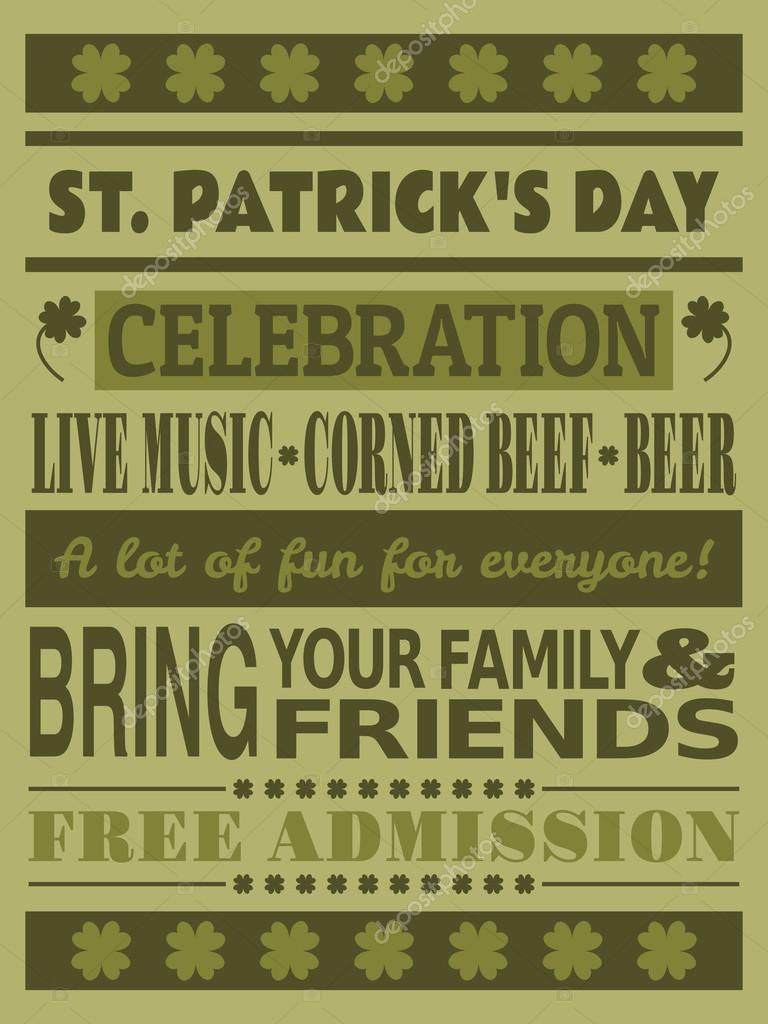 St. Patrick\'s Day Party Invitation — Stock Vector © ivaleks #19527947