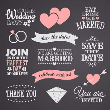 Chalkboard style wedding design elements. clip art vector