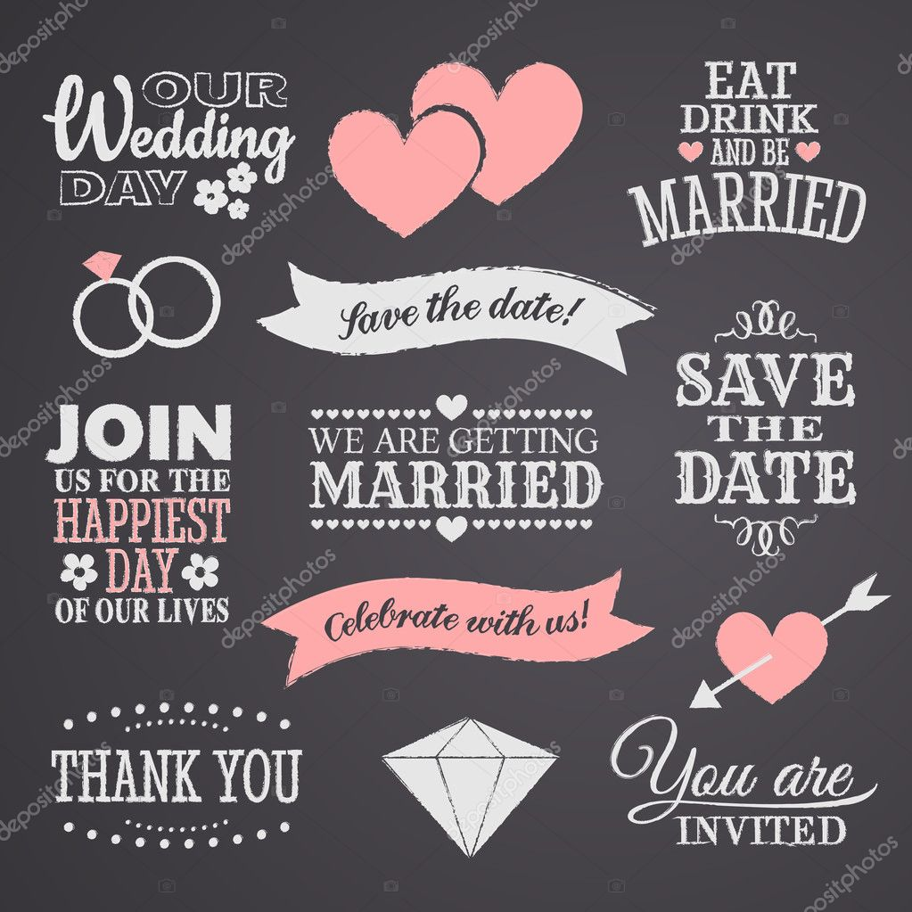 Chalkboard style wedding design elements. clipart vector