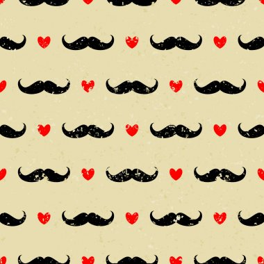 Mustache and Hearts Background