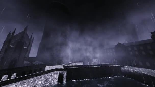 Castello di Halloween con un enorme fulmine