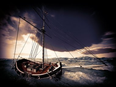 Old pirate frigate sinking on stormy waters