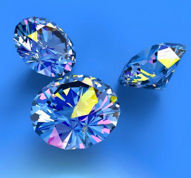 Faceted blue diamonds