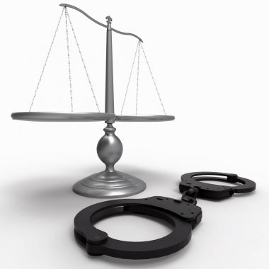 Scales of justice and handcuffs