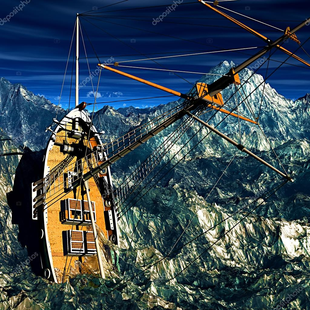 Sinking pirate brigantine