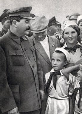 Vintage photograph of Joseph stalin with children