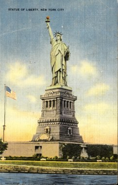 Statue of Liberty on vintage postcard from USA