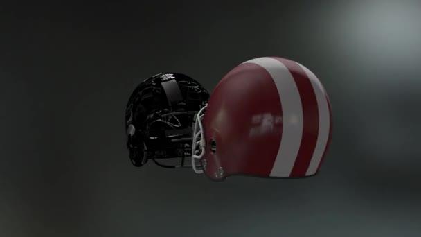 Football helmets collide