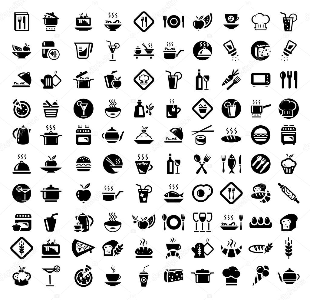 Food and kitchen icons set stock vector