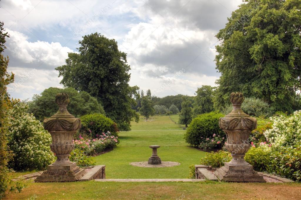 English Country Estate garden view.