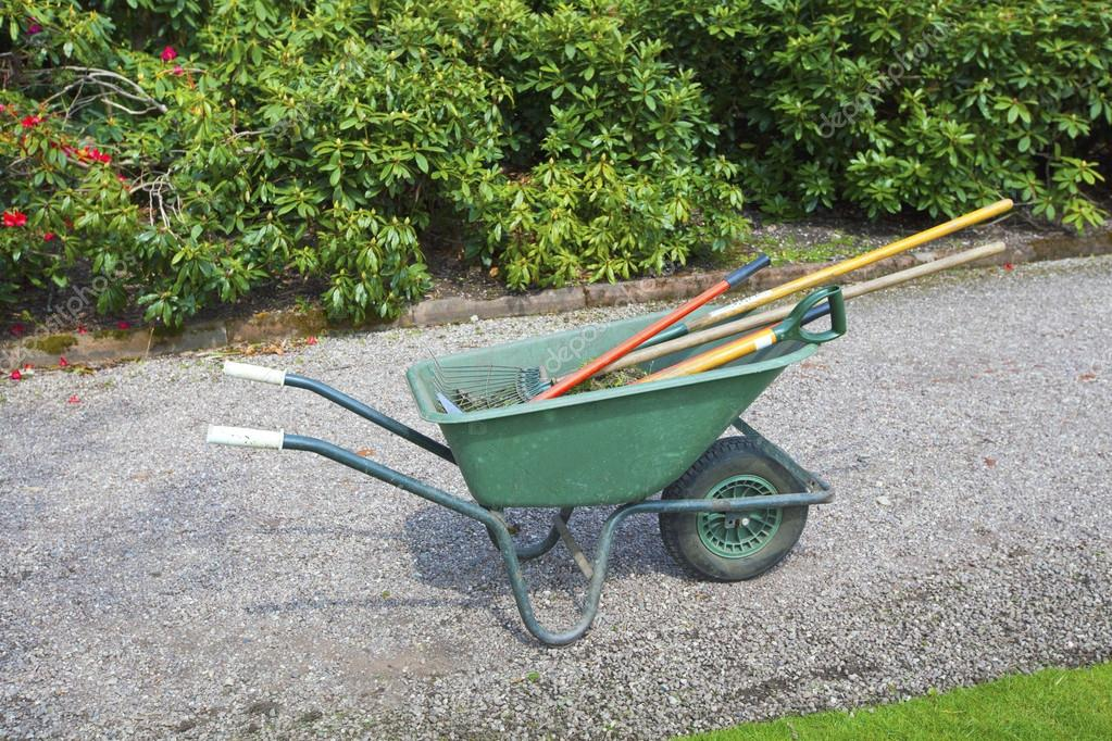 Wheelbarrow in a garden.