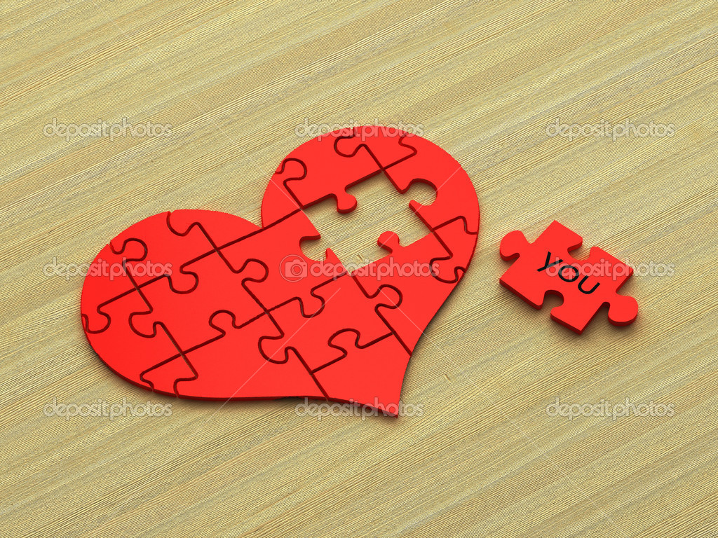 3d Heart Puzzle On Wooden Background Photo By Shpock