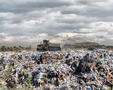 Bulldozer on a garbage dump