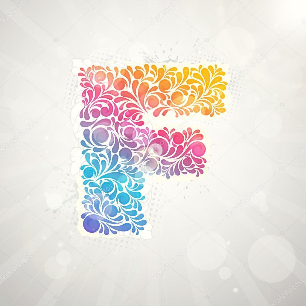 alfabeto del patrón de colores. letra f — Archivo Imágenes ...
