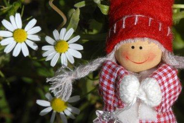 Christmas card, cheerful santa claus elf girl