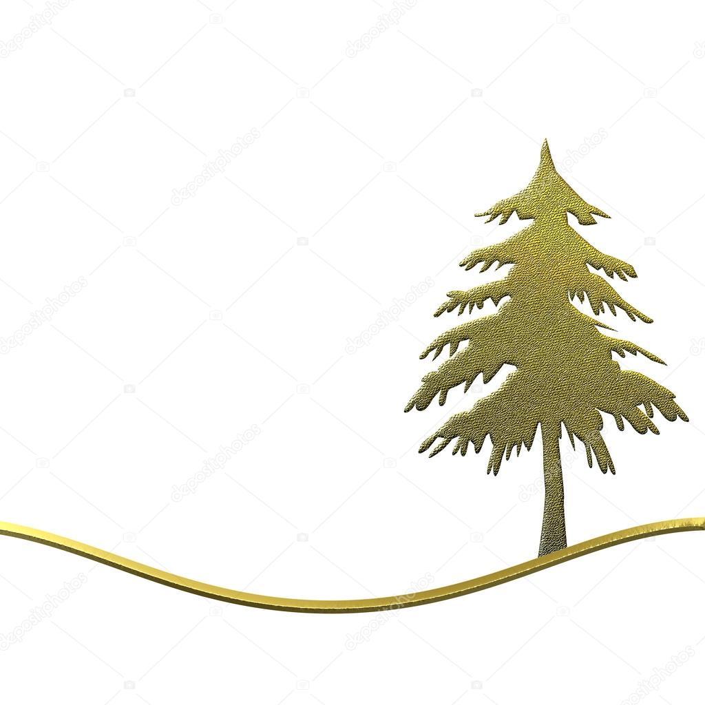 árbol de Navidad oro aislado con tarjeta en blanco — Foto de stock ...