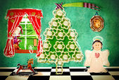 Divertente la vigilia di Natale a casa, cartolina