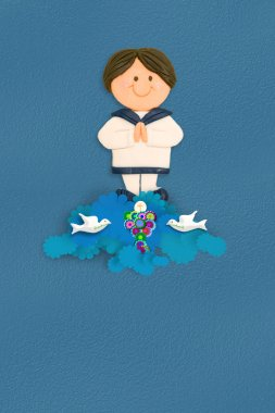 Cheerful sailor boy first communion invitation